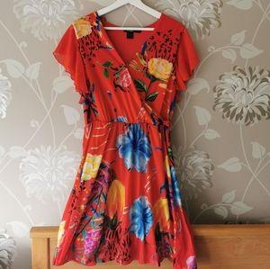 Red Floral print Desigual dress XL